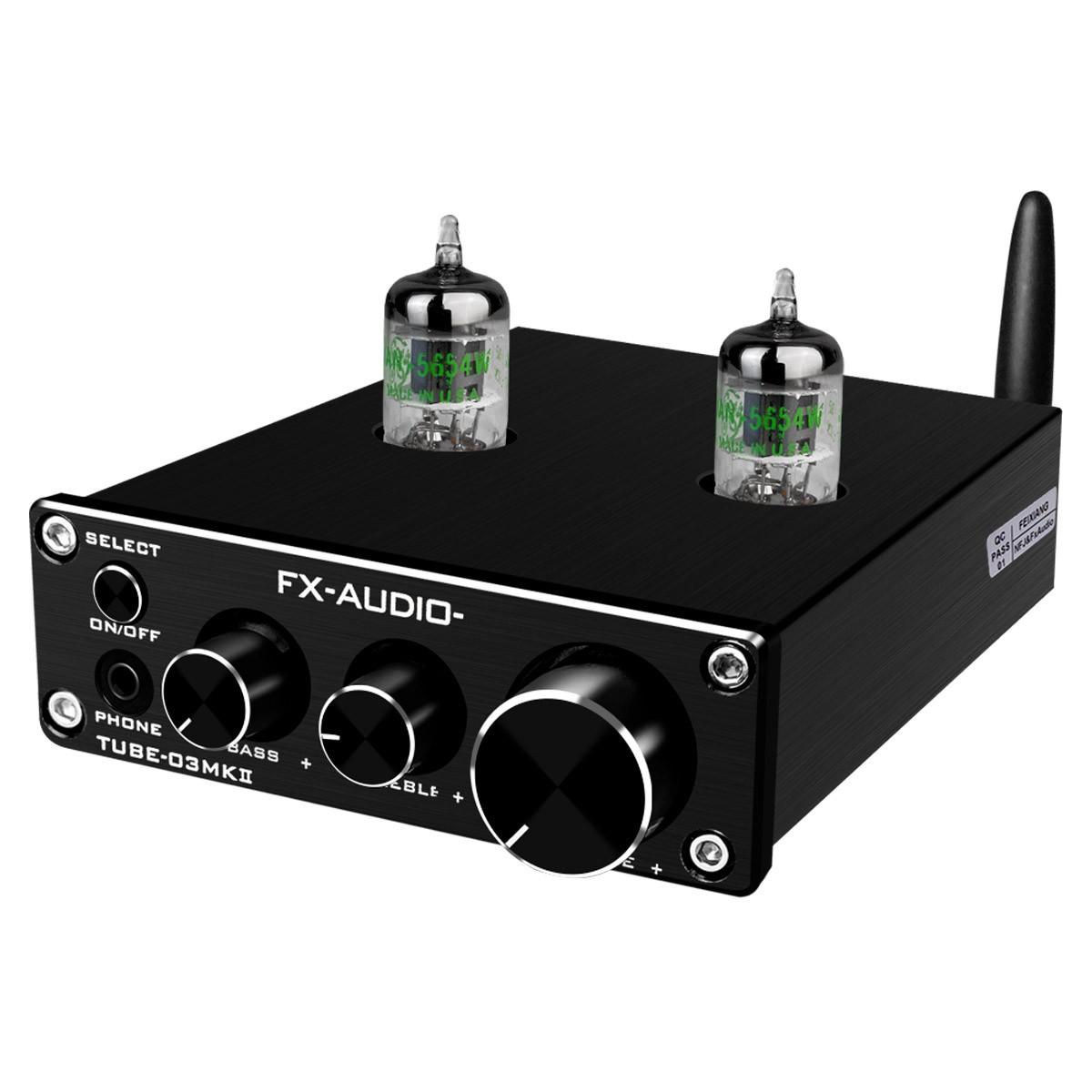 FX-AUDIO TUBE-03 MKII Préamplificateur à Tubes Stéréo 5654 Bluetooth 5.0 Noir