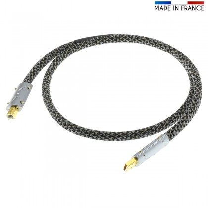 AUDIOPHONICS PULSAR Male USB-A to Male USB-B Cable Silver / Gold Plated 1m