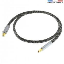 AUDIOPHONICS PULSAR Câble USB-A Mâle vers USB-B Mâle Plaqué Argent / Or 1.5m