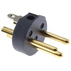VIABLUE T6S XL Connecteur XLR Mâle 3 Pôles Plaqué Or 24k Ø12mm Noir (Unité)
