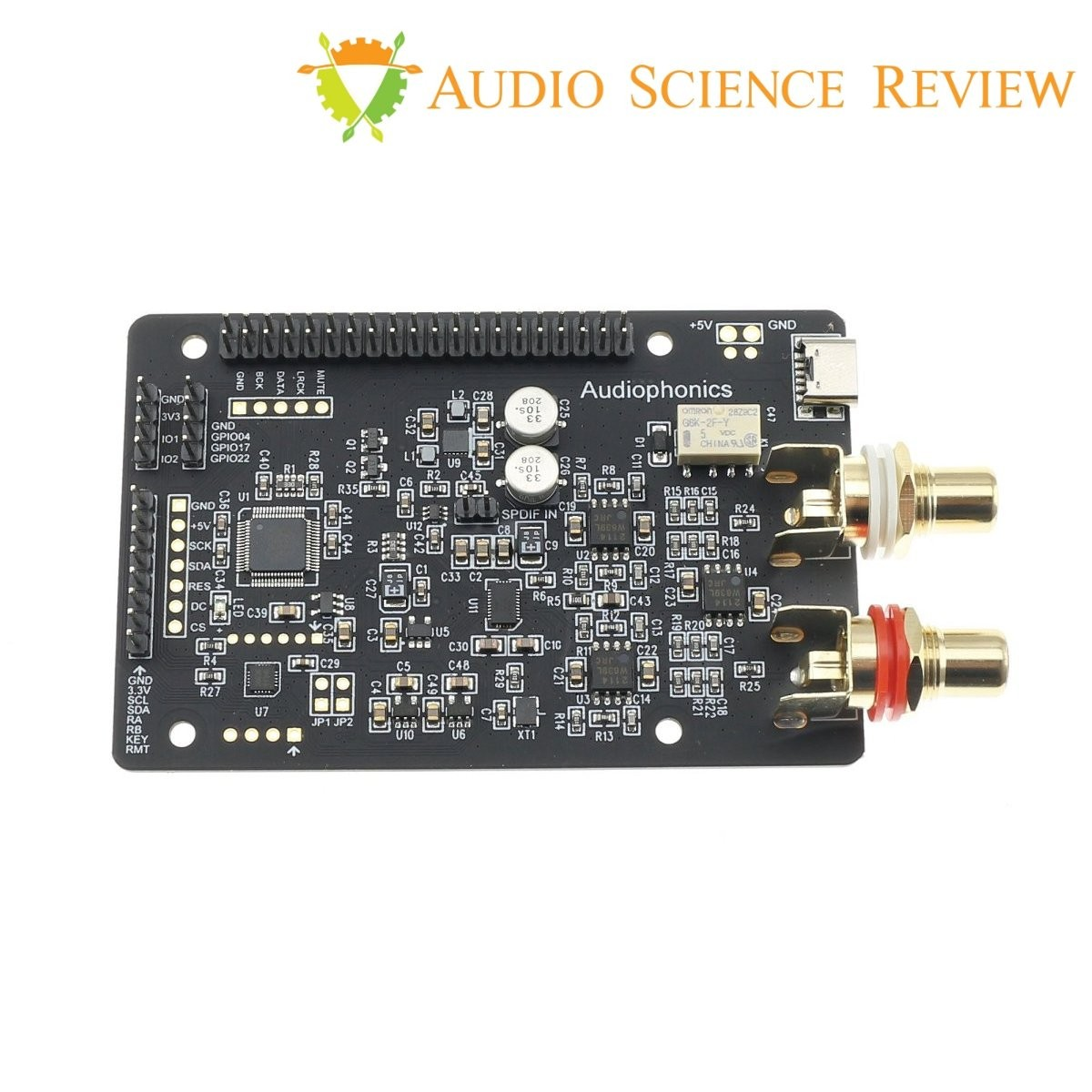 AUDIOPHONICS DAC I-Sabre ES9038Q2M KALI EDITION Raspberry Pi / I2S & SPDIF / PCM DSD