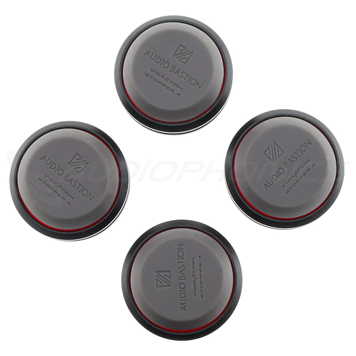 AUDIO BASTION REDLINE DAMPER Absorbeurs de Vibrations Aluminium / Silicone 41 x 17mm (Set x4)