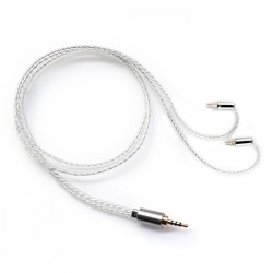 BC05B Câble Jack 2.5mm Symétrique vers CIEM 0.78mm Cuivre OCC Plaqué Argent 50cm