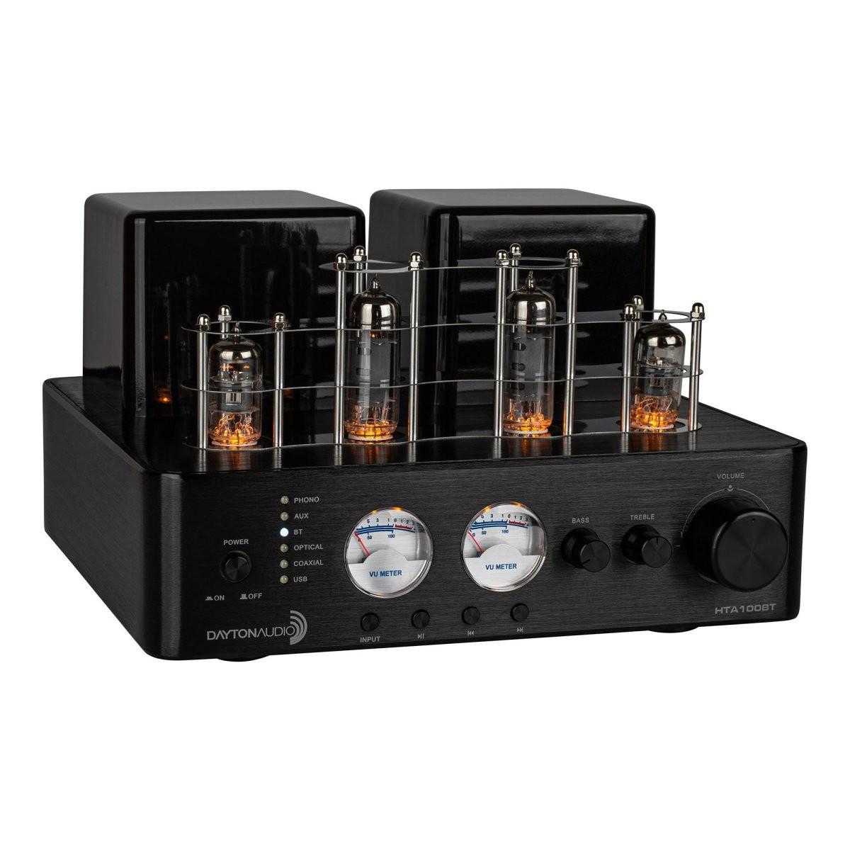 DAYTON AUDIO HTA100BT Amplificateur Hybride à Tube BT5.0 Phono 2x50W / 4 Ohm