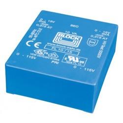 BLOCK PCB Transformer 2x6V 2x833mA 10VA