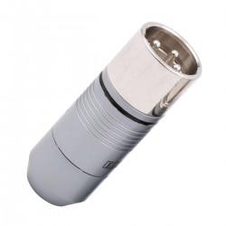 EIZZ EZ-205M Male 3 Poles XLR Connector PTFE Platinum Plated Ø9mm Black (Unit)