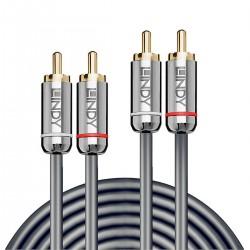 LINDY CROMO LINE Câble de Modulation RCA-RCA Cuivre Plaqué Or 0.5m (La paire)
