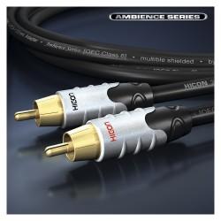 HICON Ambience Series Câble de Modulation 2 x RCA vers 2 x RCA Plaqué Or 24K 0.75m