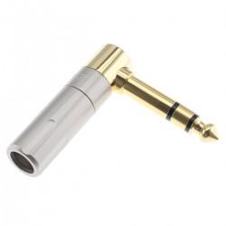 Connecteur Jack 6.35mm Stéréo Coudé Plaqué Or