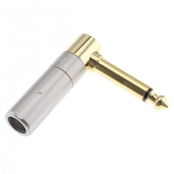Jack 6.35mm Mono Connector Angled Gold Plated