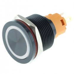 LB Bistable Aluminium switch with RGB light 250V Ø16mm Silver