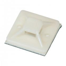Attache Câble Adhésif 20x20mm Blanc (Set x50)