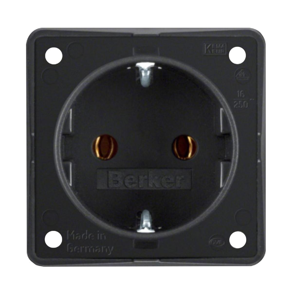 BERKER Schuko Socket 250V 16A IP20 Black