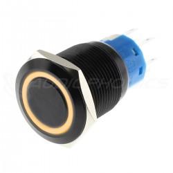 Interrupteur Aluminium Anodisé avec Cercle Lumineux Orange 2NO2NC 250V 5A Ø19mm Noir