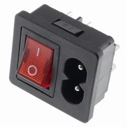 Interrupteur à Bascule Lumineux Rouge IEC C8 ON-OFF 250V 2.5A Noir