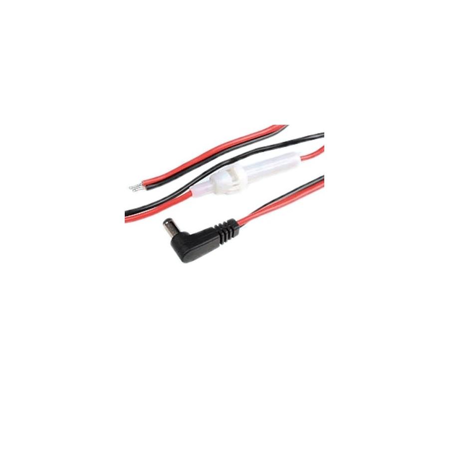 Câble d'alimentation Jack DC coudé 5.5/2.1mm 2m avec Fusible