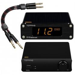 Pack Topping Amplificateur Class D PA3S + DAC Symétrique D10 + Câbles Jack 6.35mm TCT1