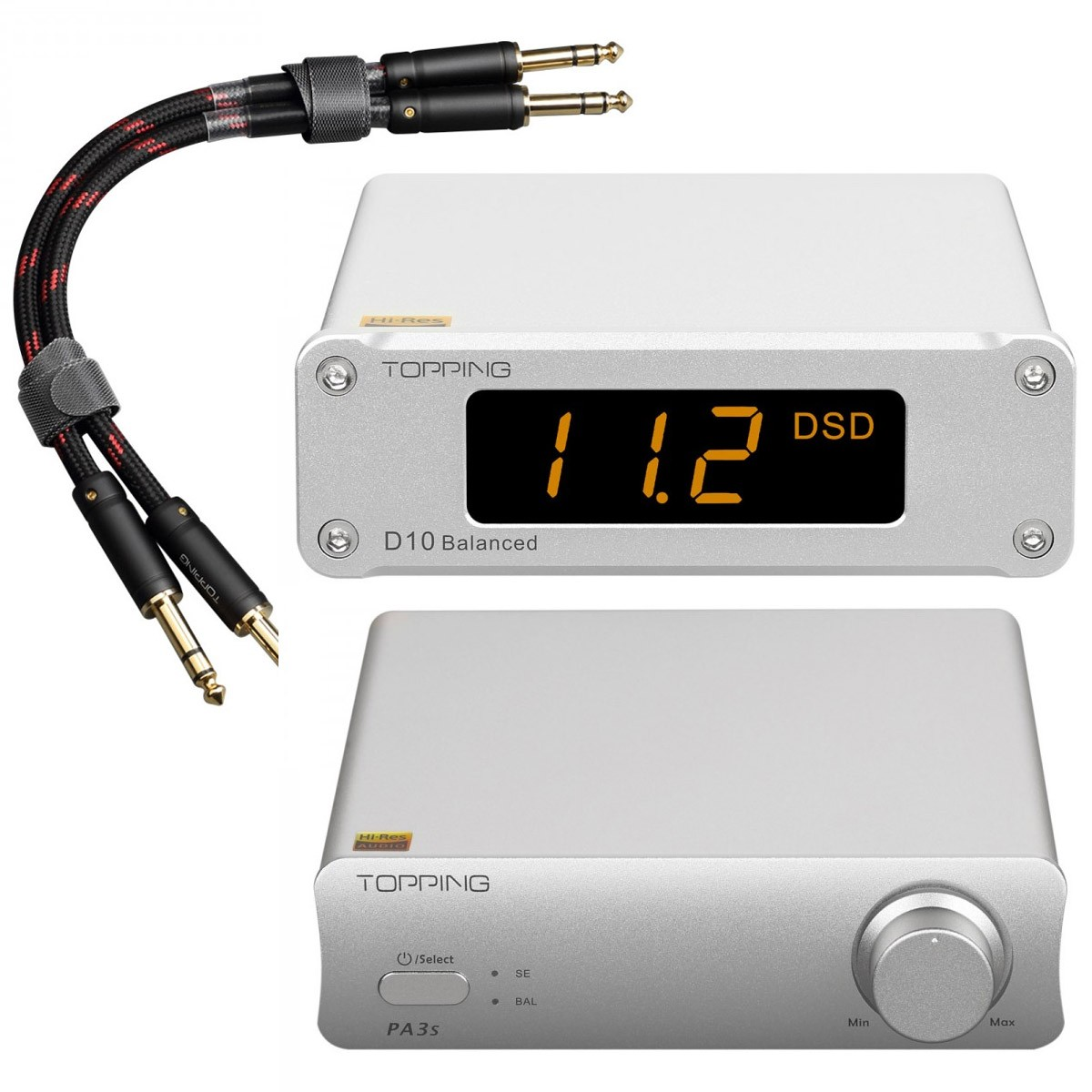 Pack Topping PA3S Class D Amplifier + D10 Balanced DAC + TCT1 Jack 6.35mm Cables Silver