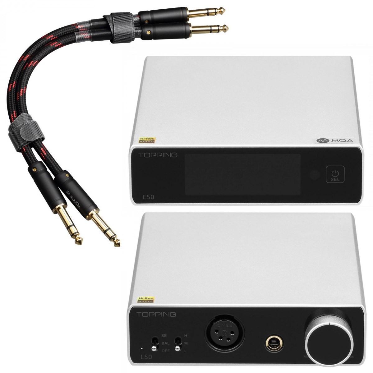 Pack Topping E50 Balanced DAC + L50 Balanced Headphone Amplifier + TCT1 Jack 6.35mm Cables Silver