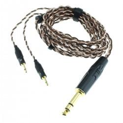 SIVGA Câble pour Casque Jack 6.35mm vers 2x Jack 2.5mm Mono Cuivre OCC 6N 1.8m