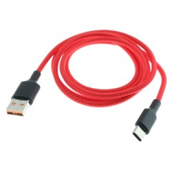 Male USB-A to Male USB-C Cable Red 1m