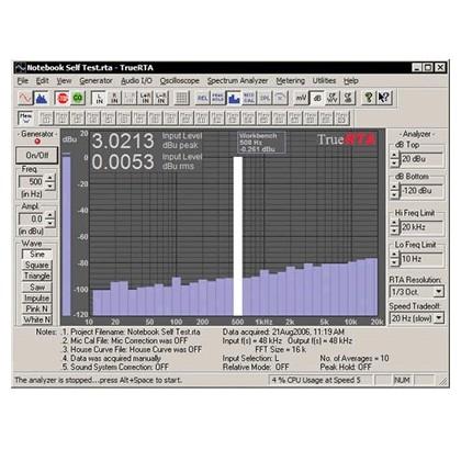 TrueRTA logiciel de mesure Audio Level 2 Version 3