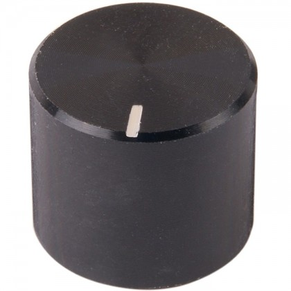 Bouton Aluminium Axe Cranté 16x14mm Ø6mm Noir