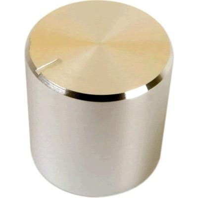 Bouton Aluminium Axe Cranté 17×17mm Ø6mm Argent