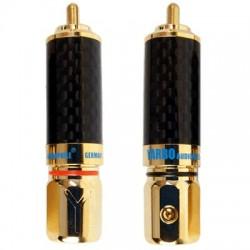YARBO 018GCF Connecteurs RCA verrouillables Carbone plaqué Or Ø 9.5mm (La paire)