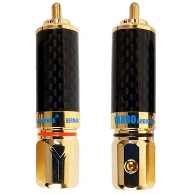YARBO 018GCF Connecteurs RCA verrouillables Carbone plaqué Or Ø9.5mm (La paire)