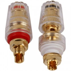 Insulated Terminals Acrylic Plated Gold Ø19mm x 46mm (Pair)
