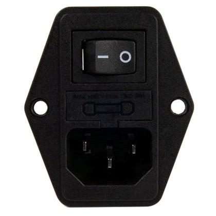 Embase IEC + Porte fusible + Interrupteur + Porte fusible 10A