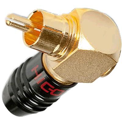 Hicon HI-CMA01 Connecteur RCA Rouge plaqué Or coudé 90° Ø 7.2mm (Unité)