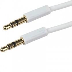 Câble Torsadé mini JACK 3,5 Mâle - Mini JACK 3,5 Mâle Blanc 0.90m