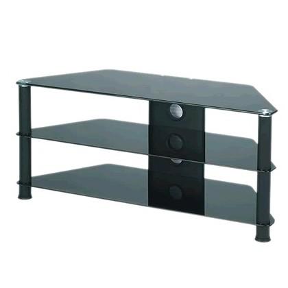 j001bb meuble hifi support tv verre et aluminium black audiophonics. Black Bedroom Furniture Sets. Home Design Ideas