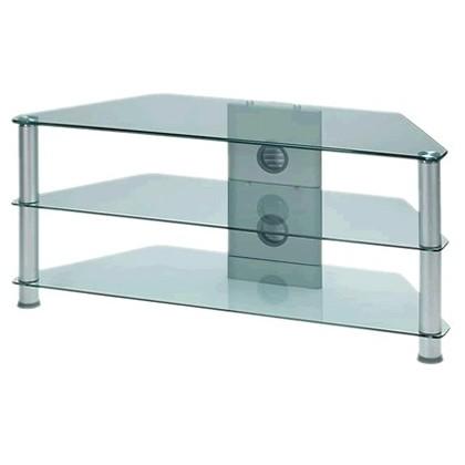 j001sc meuble hifi support tv verre et aluminium silver audiophonics. Black Bedroom Furniture Sets. Home Design Ideas