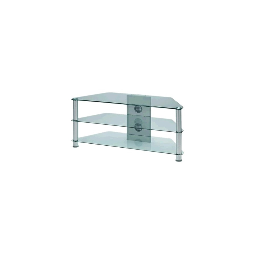 J001sc Hifi Stand Tv Stand Glass And Aluminum Silver 1 08m  # Meuble Support Tv