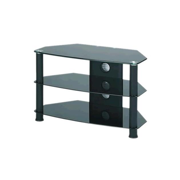 J003bb Meuble Hifi Support Tv Verre Et Aluminium 0 76m Noir