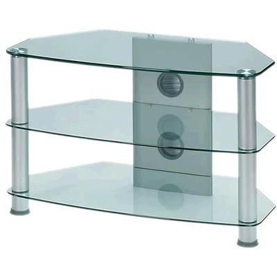 j003sc meuble hifi support tv verre et aluminium silver audiophonics. Black Bedroom Furniture Sets. Home Design Ideas