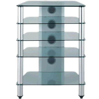 J005sc meuble hifi support tv verre et aluminium silver audiophonics - Meuble chaine hifi en verre ...