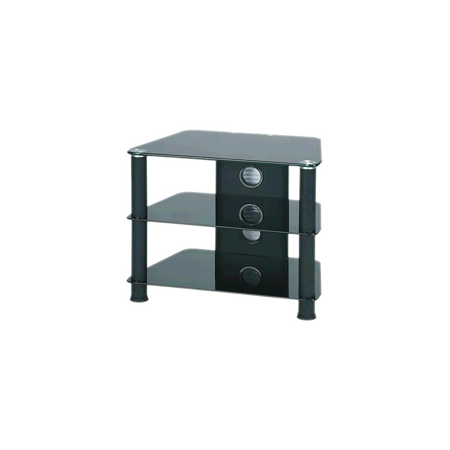 J007bb meuble bas hifi support tv verre et aluminium black for Meuble bas hifi