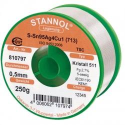 Etain à souder - Stannol Crystal Argent 250g / 0,5mm