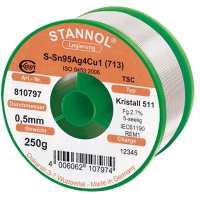 STANNOL CRYSTAL Étain à Souder Soudure Argent 250g Ø0.5mm
