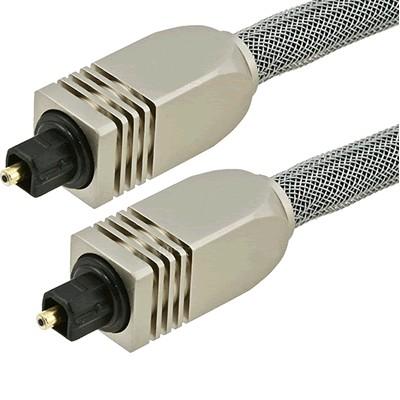 Fibre optique Toslink SPDIF Connecteurs métal et gaine 0.9m