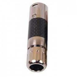 W&M AUDIO XLR-96R Connecteur XLR Mâle 3 Pôles Plaqué Rhodium Ø 11.5mm Carbone (Unité)
