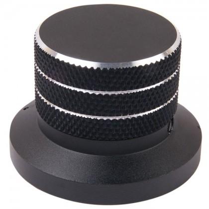 Bouton aluminium 48×33mm Anodisé Noir Axe méplat Ø6mm