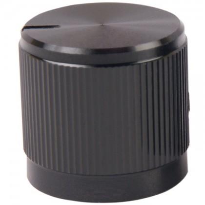 Bouton aluminium 17×16mm Noir Axe méplat Ø6mm