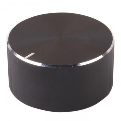 Knob Aluminum Notched Shaft 34x17mm Ø 6mm Black