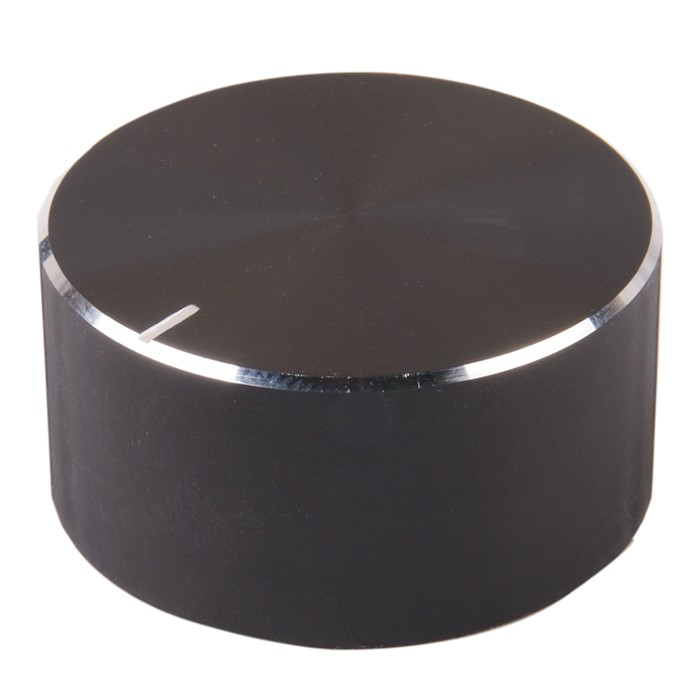 Bouton Aluminium Axe Cranté 34x17mm 6mm Noir