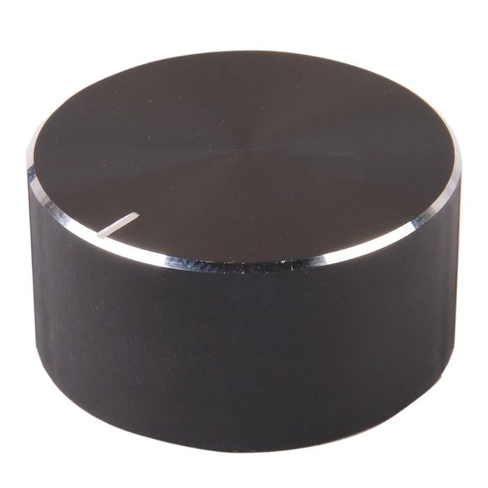 Knob Aluminum Notched Shaft 34x17mm Ø6mm Black